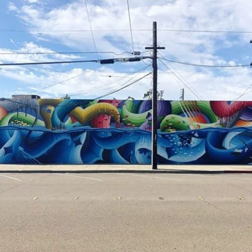 Street Murals by Ricky Watts seen at Livermore Mural Festival, Livermore - Water Noodles