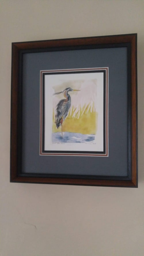 Paintings by Anne QP Draws seen at Private Residence, Culver City - Blue Heron, 2019