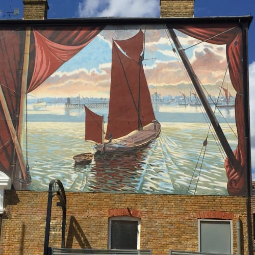 Murals by Gary Drostle – Drostle Public Arts Ltd seen at Erith, Erith - Thames Barge mural