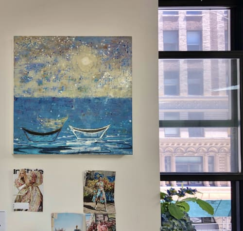 Paintings by willa vennema seen at New York, New York - Three Boats with Moonlight