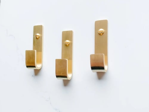 Small Brass Wall Hook / Handcrafted in the USA   Hardware by Fuller Hardware and Design