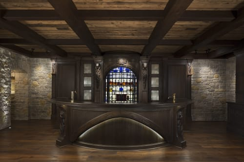 Interior Design by Vogue Furniture seen at Private Residence, Bloomfield Hills - Custom Medevil Bar Pub