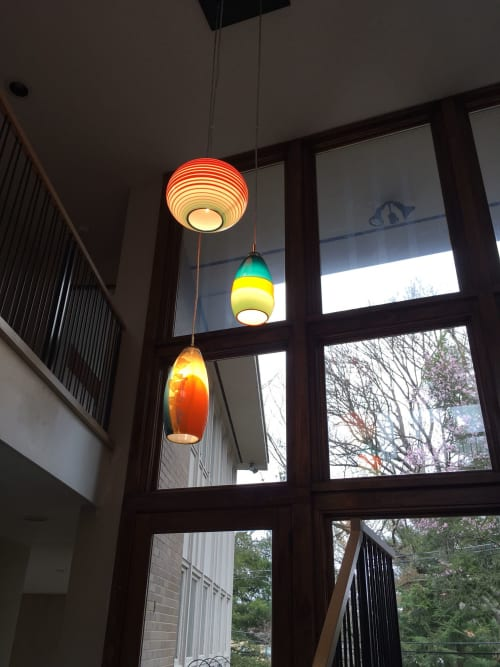 Pendants by Julie Conway (Illuminata Art Glass Design LLC) seen at Private Residence, Pittsburgh - LANTERNA