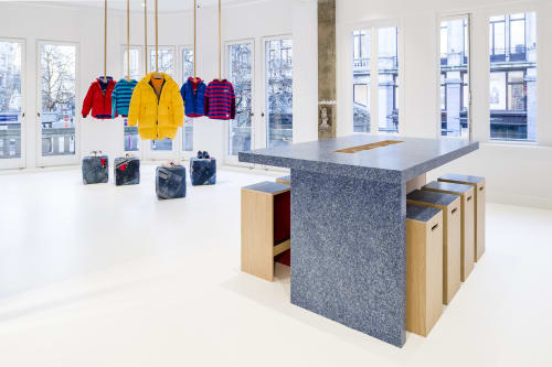 Furniture by Planq seen at London, London - Custom made interior for Tommy Hilfiger from recycled jeans