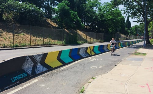 Street Murals by LAMKAT seen at Flushing Avenue, Brooklyn - BARRIER BEAUTIFICATION