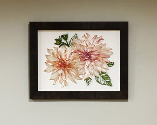 Art & Wall Decor by JUDiTH+ROLFE seen at Private Residence, Lake Oswego - Two Dahlias on-edge paper art