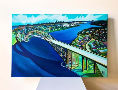 Paintings by Julia Deckman, Artist seen at Private Residence, New York - Bayonne Bridge