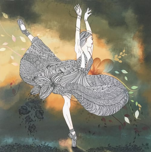 Paintings by Ashima Kumar seen at Private Residence - Life is music, Ballet - original painting