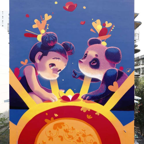 "Street Murals by Animalitoland seen at Yulin Street, Chengdu Shi - ""Growing together"" for Color Way of Love"