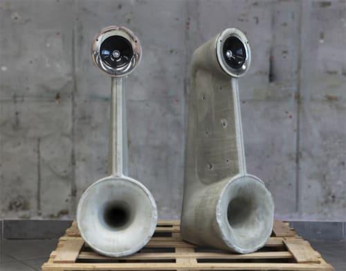 Furniture by Linski Design - Concrete Art seen at Private Residence, Tel Aviv-Yafo - EXPOSED SPEAKERS