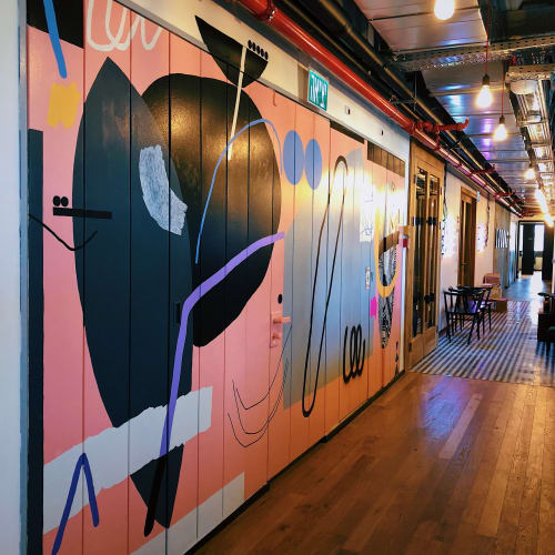 Murals by Kate Frizalis seen at Mindspace, Tel Aviv-Yafo - Abstract mural for Mindspace office
