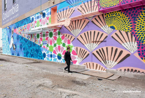 Street Murals by Hello Kirsten seen at Columbia College, Chicago - Listen to Learn Mural