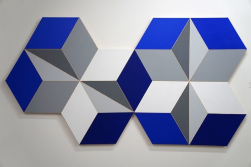 "Paintings by Abedin Fine Art seen at Bank of America Financial Center, Houston - Perception #130, Blue, 49"" x 93"" acrylic on wood"