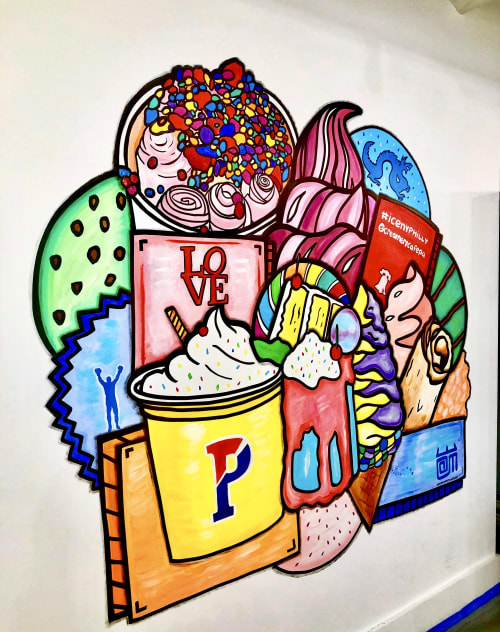 Murals by Alloyius Mcilwaine Art seen at 3818 Chestnut St, Philadelphia - The Creamery Cafe Mural
