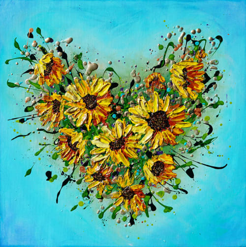 Paintings by Amanda Dagg seen at Private Residence, Exeter - Sunflowers Heart