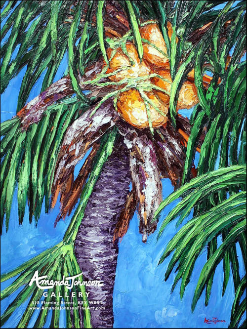 Paintings by Amanda Johnson Fine Art seen at Private Residence, Key West - Gold And Green Coconuts