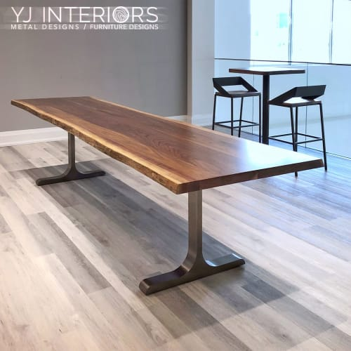 Tables by YJ Interiors seen at Toronto, Toronto - Live Edge Black Walnut Table with Handcrafted Blackened Leg