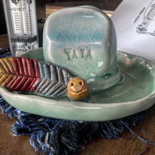 "Art & Wall Decor by David Ivar ""Yaya"" seen at Creator's Studio, Los Angeles - Baby blue Ceramic Hat"