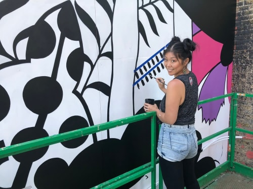 Murals by Emma Daisy at Milwaukee's Black Cat Alley, Milwaukee - IN FULL BLOOM