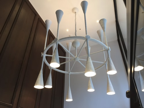 Lighting Design by David Barker Lion Iron/Belico seen at Covent Garden, London - One Aldwych lobby bar
