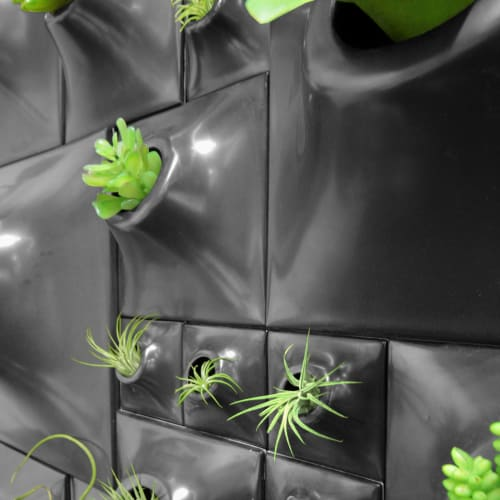 """Vases & Vessels by Pandemic Design Studio seen at Private Residence, Philadelphia - Modern Dining Living Wall - Gunmetal Node Greenwall 30 x 27"""""""