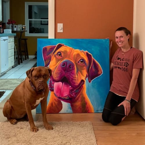 """Paintings by Alicia VanNoy Call seen at Private Residence, Tempe - """"Memorial Portrait for Duke"""" Painting"""