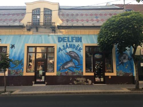 """Murals by Kai'ili Kaulukukui seen at Private Residence, Gyöngyös - """"Delfin Ajándék"""""""