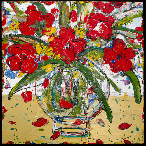 Paintings by Sue Averell Fine Art at Private Residence, Oakland - Red Floral Painting