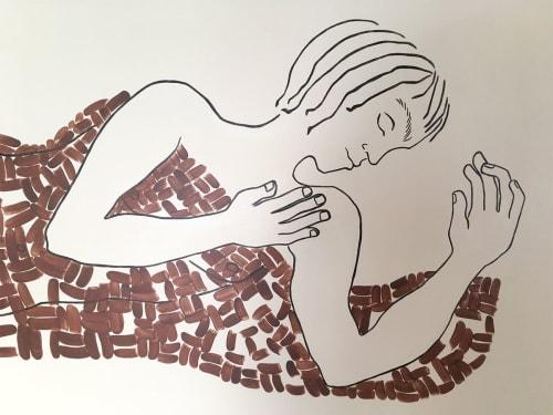 Murals by Kira Buckel seen at Freehand NYC, New York - Sleeping Man