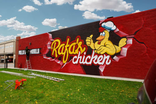 Murals by yolocone seen at Private Residence, Chicago - Rafa's Chicken