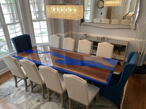Tables by Mike and Mike's Rustic Carpentry seen at Private Residence, Watertown - Lake George Epoxy Table