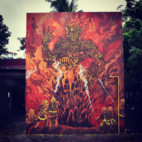 Street Murals by Yantr seen at Fire Brigade Station Aundh, Pune - Street Mural