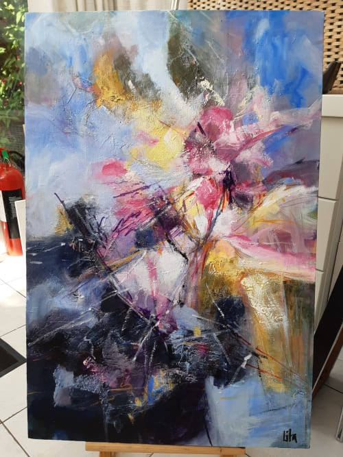 Paintings by Lita Narayan seen at Private Residence - Abstract cityscape