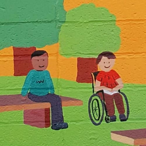 Murals by Flo de Bretagne seen at Adelante Selby Lane Elementary School, Atherton - Heroes