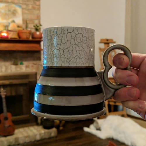 Cups by VEpottery seen at Private Residence, Dublin - Crackle Beaker Mug