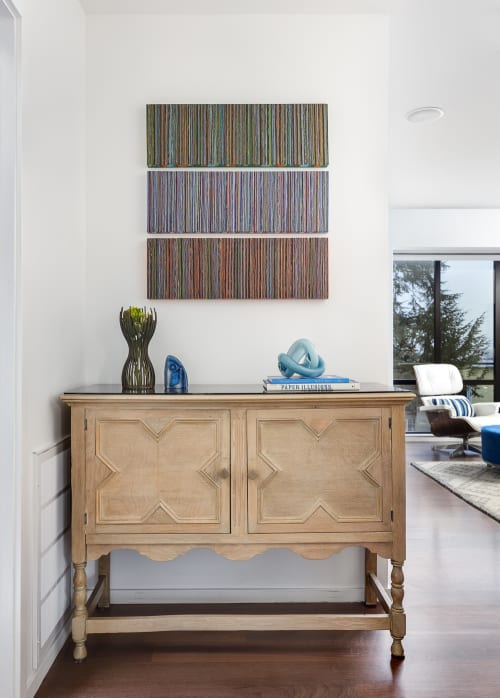 """Paintings by Scott Idleman seen at Private Residence, San Francisco - """"Striated"""" wall panels"""