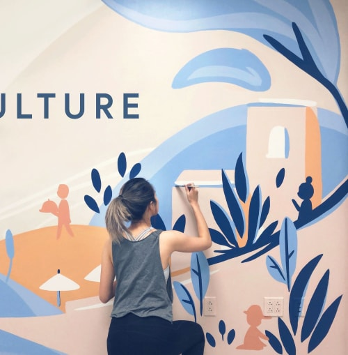 Murals by Mimochai seen at Hotel Bel-Air, Los Angeles - People & Culture Mural