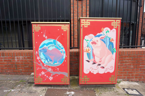 Murals by Juliette Viodé Illustration seen at Summerhill Parade, Dublin - Chinese zodiac - the Rat and the Pig