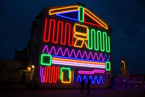 Murals by Spidertag seen at Iisalmi, Iisalmi - Interactive Neon Mural #6