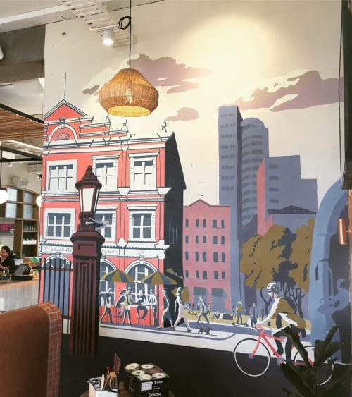 Murals by Paul x Walsh seen at The Brit Pub & Eatery, Auckland - Indoor Mural