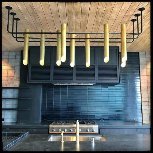 Lighting by Buzzell Studios seen at Private Residence, Los Angeles - Brass 3in Tubes Chandelier with 9 Bulb