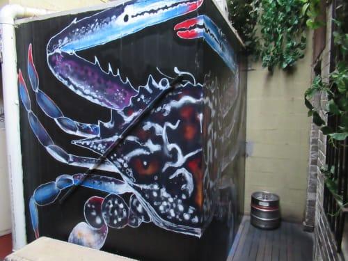 Murals by Jamie-Leigh Cornwell Art seen at Claypots Seafood Bar, St Kilda - Blue Swimmer Crab Mural