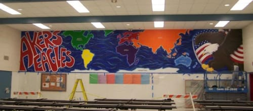 Murals by Bobbi Plentovich Lewis seen at Akers Elementary School, Lemoore - Where in the World