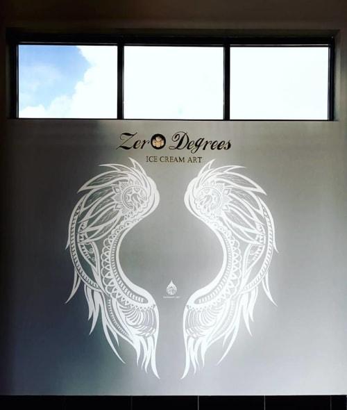 Murals by Daren Lin 大任物 seen at Zero Degrees - Ice Cream Rolls, Gainesville - Wings