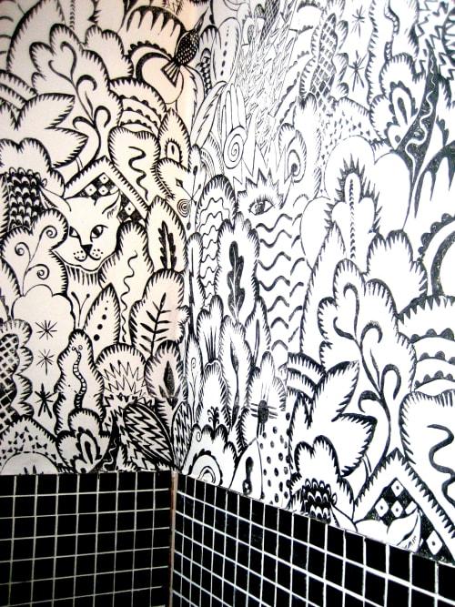 Wallpaper by Hugh Dunford Wood seen at Bridport Electric Palace, Bridport - Rousseau Handmade Wallpaper
