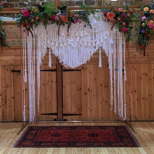 Macrame Wall Hanging by Sarah Simonds seen at The Barns At Hunsbury Hill - Wedding Venue Northamptonshire, Northampton - Macrame Wedding Backdrop