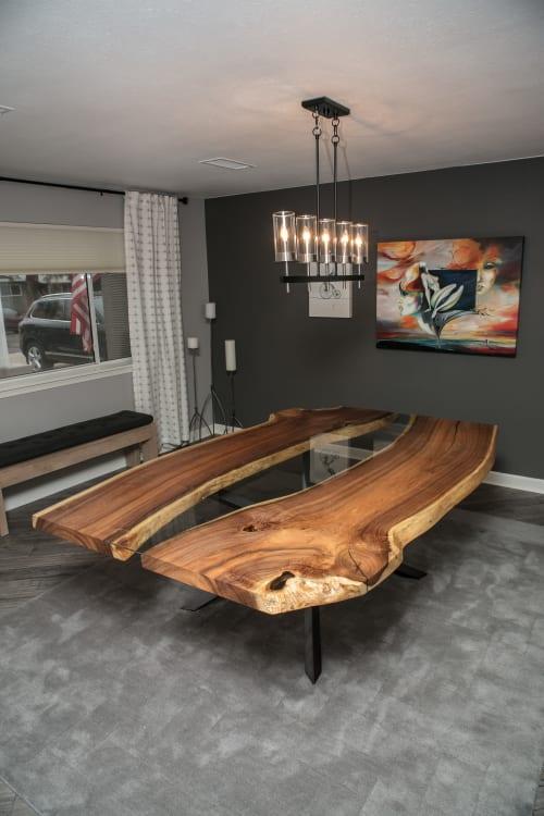 Tables by Lumberlust Designs seen at Arcadia, Phoenix, Arizona, Phoenix - Mesquite Live Edge River Table