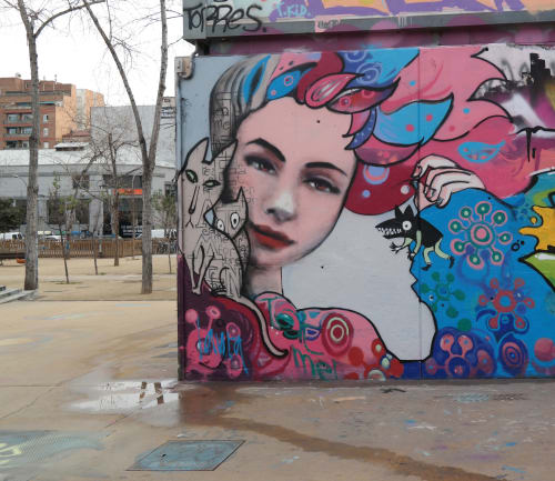 Murals by Laura9, Laura Tietjens seen at Barcelona, Barcelona - I eat men for breakfast