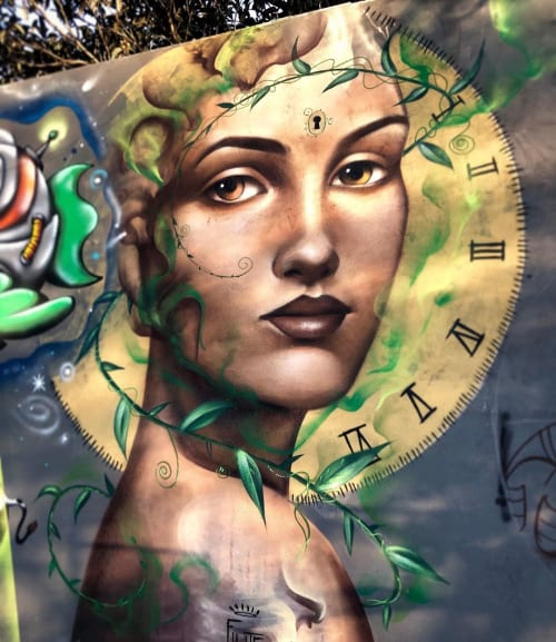 Murals by Filite seen at Maternity Hospital Leonor Mendes Barros, Belenzinho - Time God, nature Mother