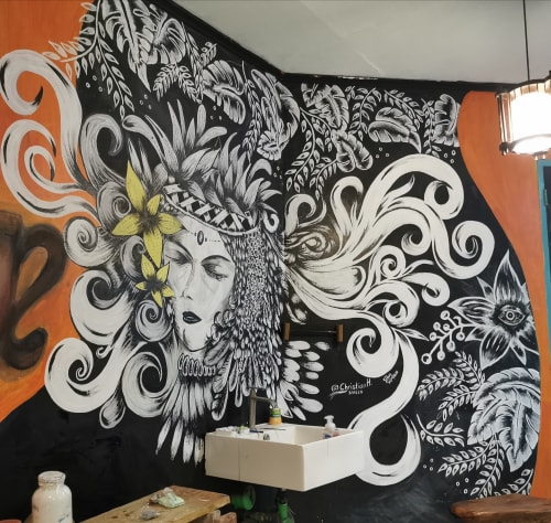 Murals by CHRISTIAN HERNANDEZ seen at Ginhawa Craft Studio Cafe, Los Baños - Babaylan
